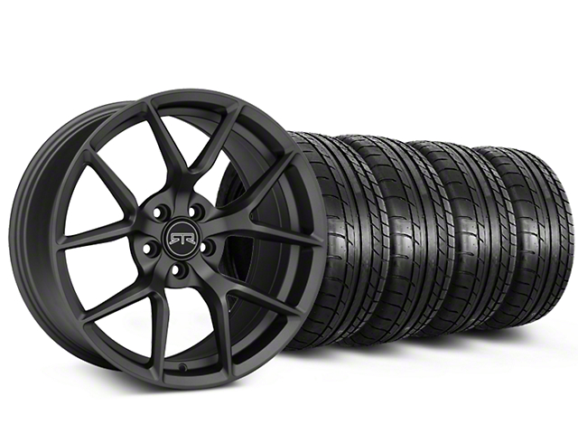 Staggered RTR Tech 5 Charcoal Wheel and Mickey Thompson Tire Kit; 19x9.5/10.5 (15-20 GT, EcoBoost, V6)