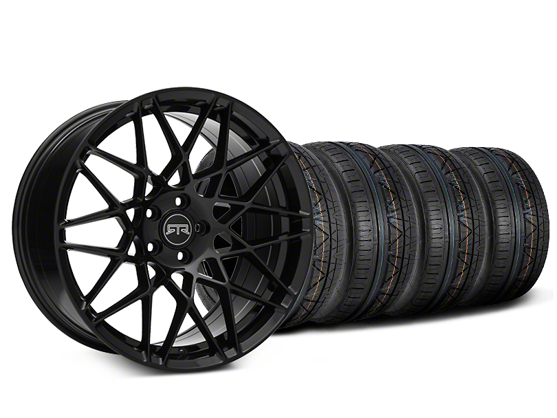 Staggered RTR Tech Mesh Black Wheel & NITTO INVO Tire Kit - 20x9.5/10.5 (15-18 GT, EcoBoost, V6)
