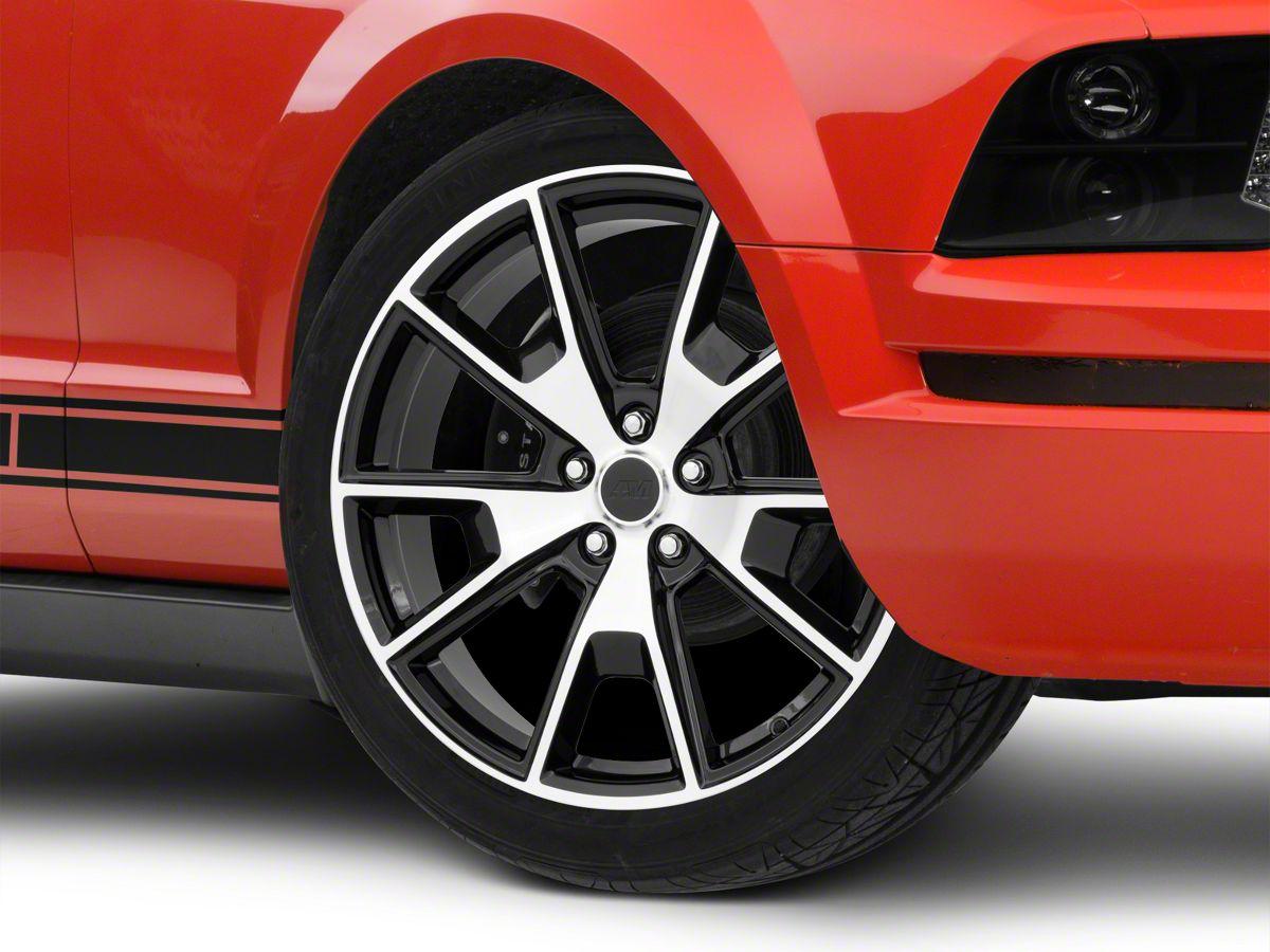 Ford Mustang 50 Years in White on Black Aluminum Tire Valve Stem Caps