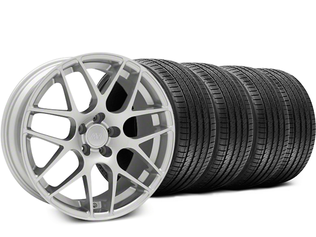 Staggered AMR Silver Wheel and Sumitomo Maximum Performance HTR Z5 Tire Kit; 18x9/10 (05-14 All, Excluding 13-14 GT500)