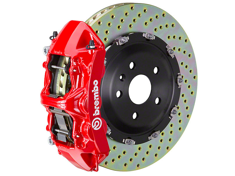 Brembo GT Series 6-Piston Front Brake Kit Red - 15 in. Drilled Rotors (11-14 GT Brembo; 12-13 BOSS 302; 07-12 GT500)