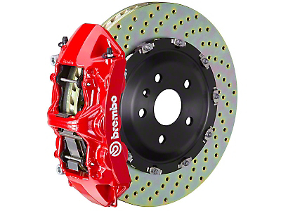 Brembo GT Series 6-Piston Front Brake Kit - 15 in. Drilled Rotors - Red (11-14 GT Brembo; 12-13 BOSS 302; 07-12 GT500)
