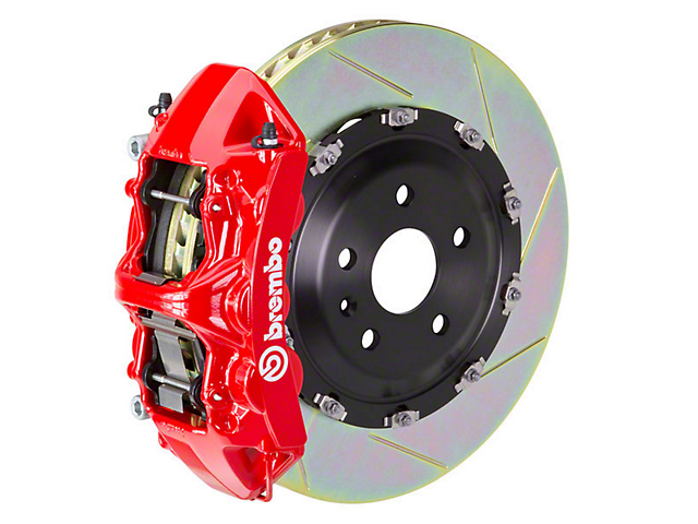 Brembo GT Series 6-Piston Front Big Brake Kit with 15-Inch Type 1 Slotted Rotors; Red Calipers (11-14 GT Brembo; 12-13 BOSS 302; 07-12 GT500)