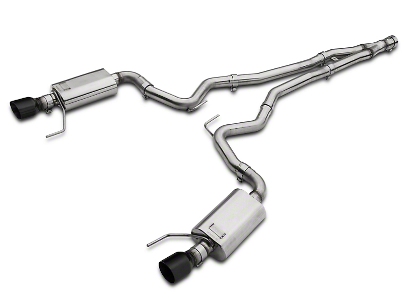 Kooks Cat-Back Exhaust w/ Y-Pipe - Black Tips (15-18 EcoBoost Fastback w/ Kooks Down Pipe)