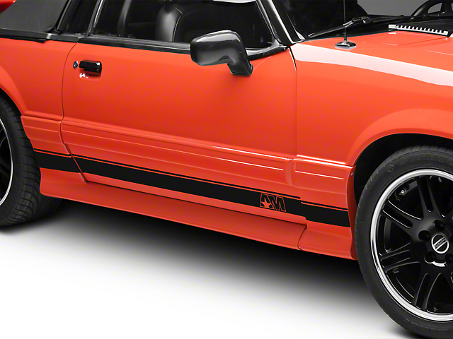 American Muscle Graphics Matte Black Rocker Stripes w/ AM Logo (79-93 All)