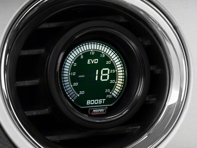 Prosport 52mm EVO Series Digital Boost Gauge; Electrical; 35 PSI; Green/White (Universal Fitment)