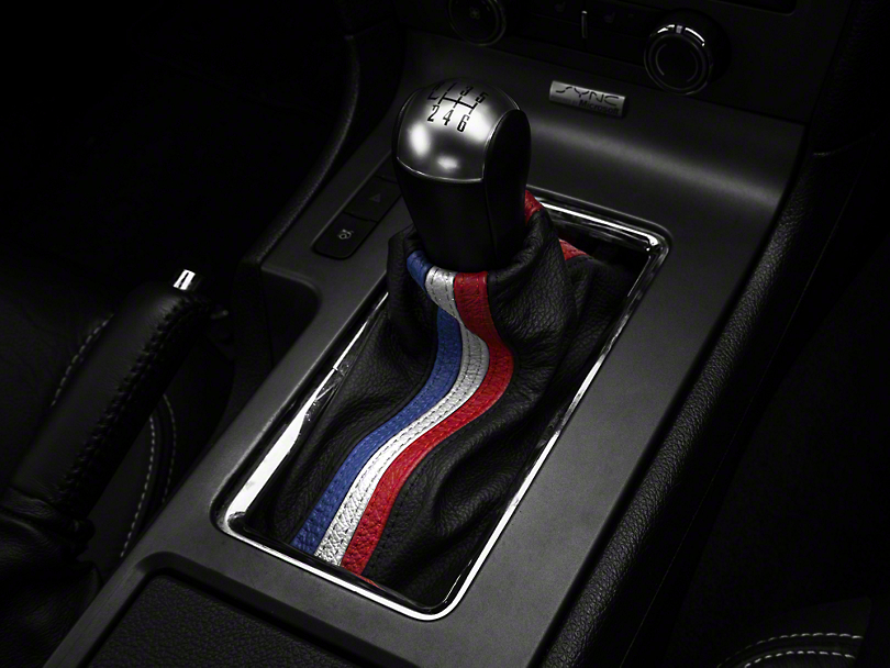 Alterum Premium Black Leather Shift Boot - Red, White & Blue Stripe (10-14 All)