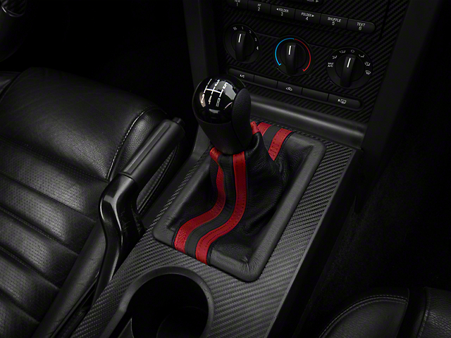 Alterum Premium Black Leather Shift Boot - Dual Red Stripe (05-09 GT, V6)