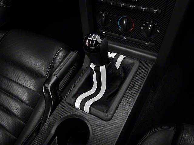 Alterum Premium Black Leather Shift Boot; Dual White Stripe (05-09 GT, V6)