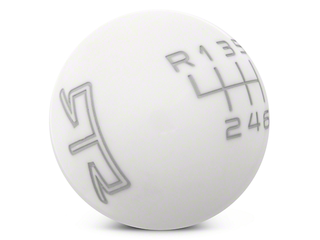 RTR White Shift Knob - Gray Engraving (11-14 GT, V6)