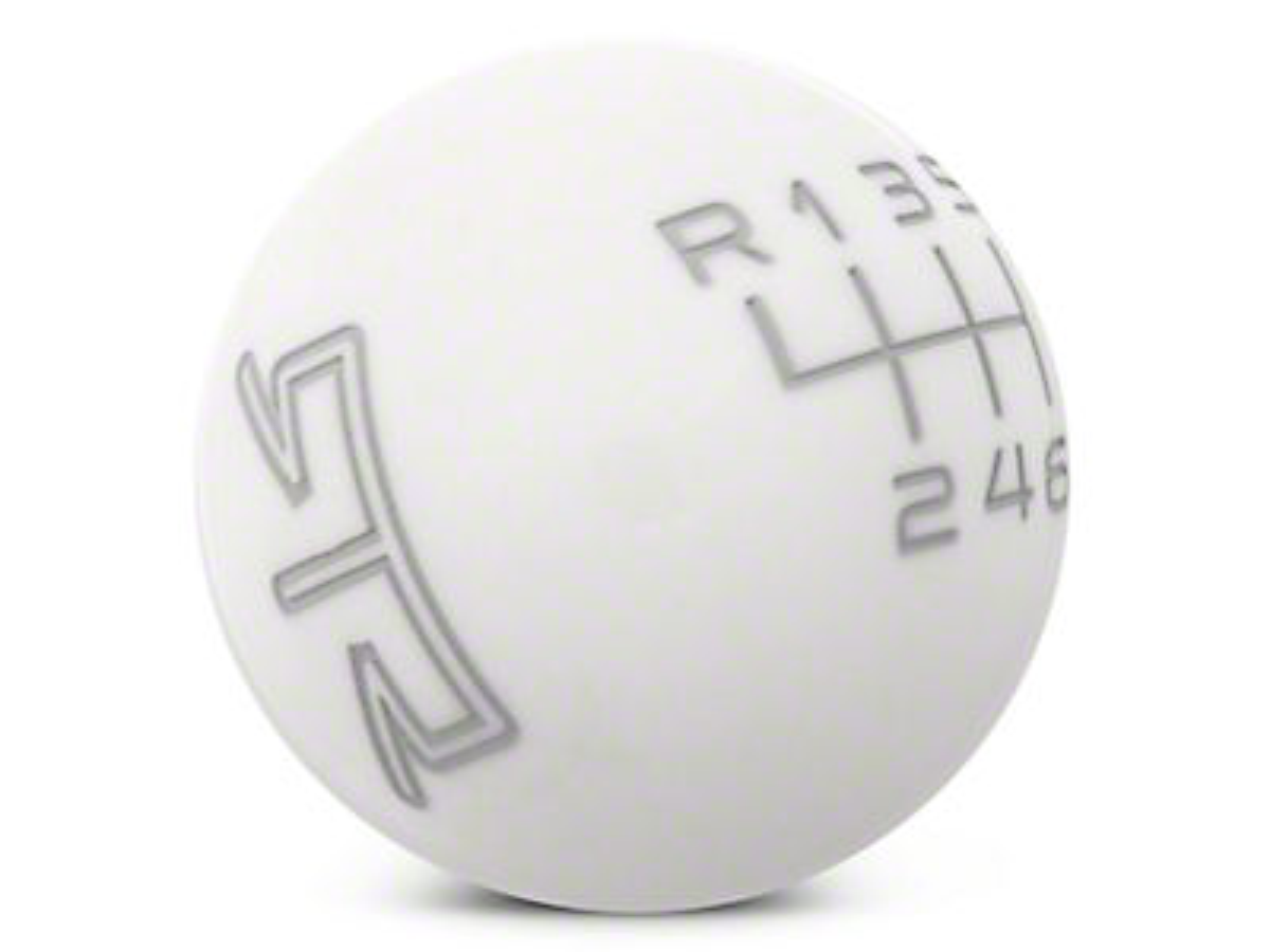 RTR White Shift Knob - Gray Engraving (11-14 GT, V6)