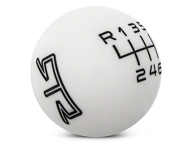 RTR White Shift Knob - Black Engraving (11-14 GT, V6)