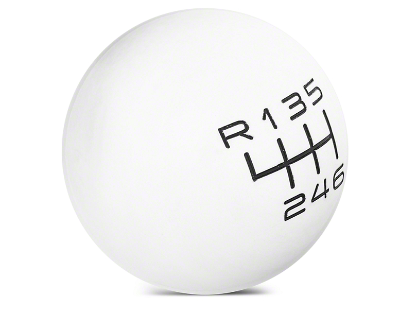Modern Billet Retro Style 6-Speed Shift Knob - White (15-19 GT, EcoBoost, V6)