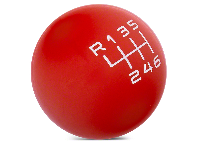 Modern Billet Retro Style 6-Speed Shift Knob; Red (15-20 GT, EcoBoost, V6)