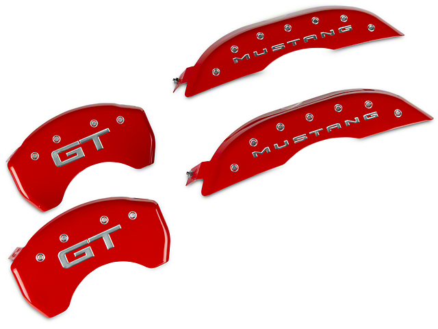 MGP Red Caliper Covers with GT Logo; Front and Rear (15-20 Standard GT)