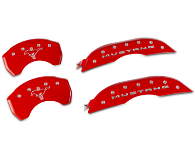 MGP Red Caliper Covers w/ Tri-Bar Pony Logo - Front & Rear (15-19 Standard GT)