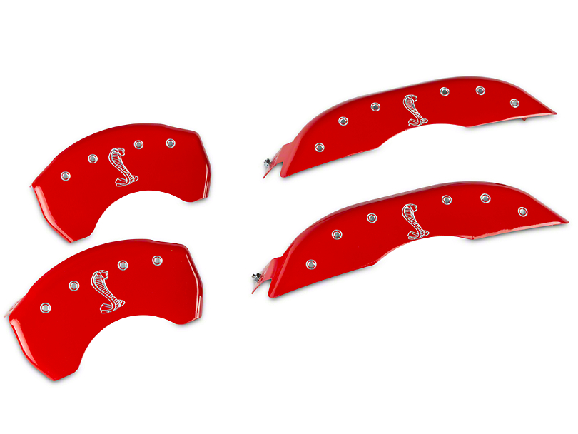 MGP Red Caliper Covers w/ Tiffany Snake Logo - Front & Rear (15-19 Standard GT)