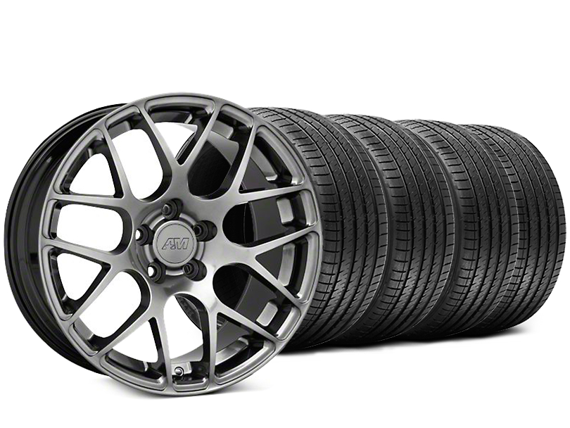 AMR Dark Stainless Wheel and Sumitomo Maximum Performance HTR Z5 Tire Kit; 18x8 (94-04 All)