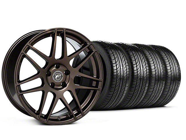 Staggered Forgestar F14 Bronze Burst Wheel and Pirelli Tire Kit; 19x9/10 (05-14 All)