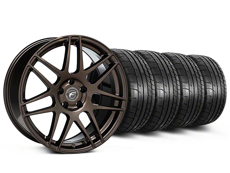 Staggered Forgestar F14 Bronze Burst Wheel and Mickey Thompson Tire Kit; 19x9/10 (05-14 All)