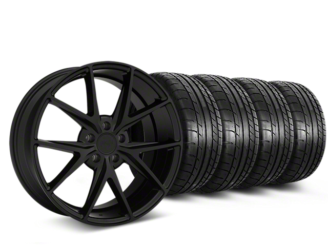 Niche Misano Matte Black Wheel and Mickey Thompson Tire Kit; 19x8.5 (05-14 All)