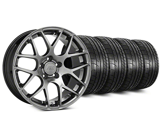 Staggered AMR Dark Stainless Wheel and Mickey Thompson Tire Kit; 18x8/9 (94-04 All)