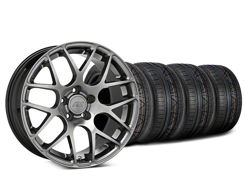 Staggered AMR Dark Stainless Wheel & NITTO INVO Tire Kit - 18x8/9 (05-14 All)