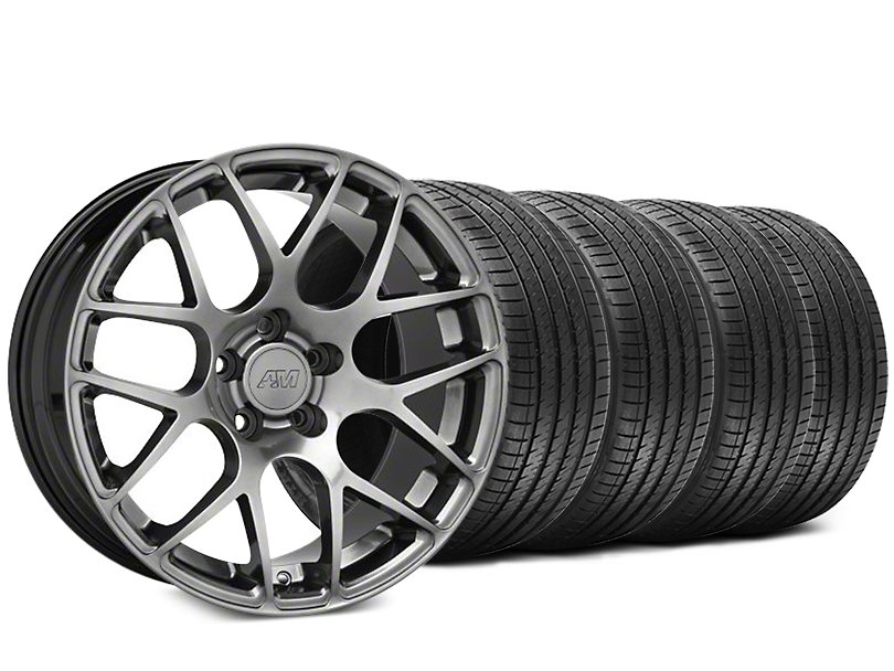 Staggered AMR Dark Stainless Wheel & Sumitomo Tire Kit - 18x8/9 (05-14 All)