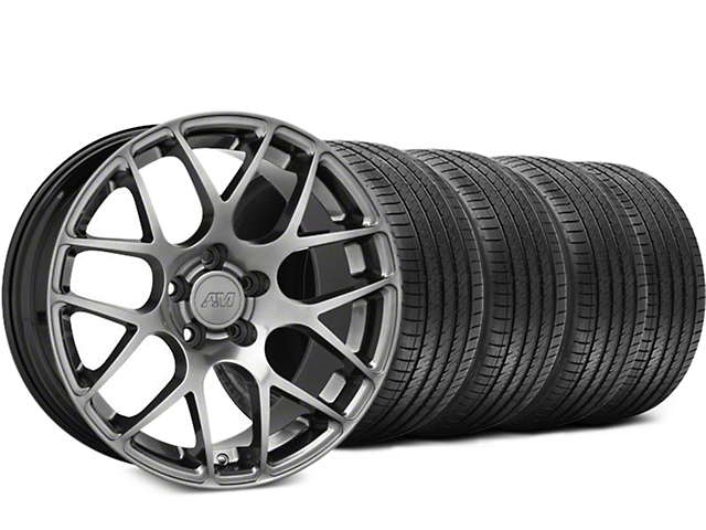Staggered AMR Dark Stainless Wheel and Sumitomo Maximum Performance HTR Z5 Tire Kit; 18x8/9 (05-14 All)