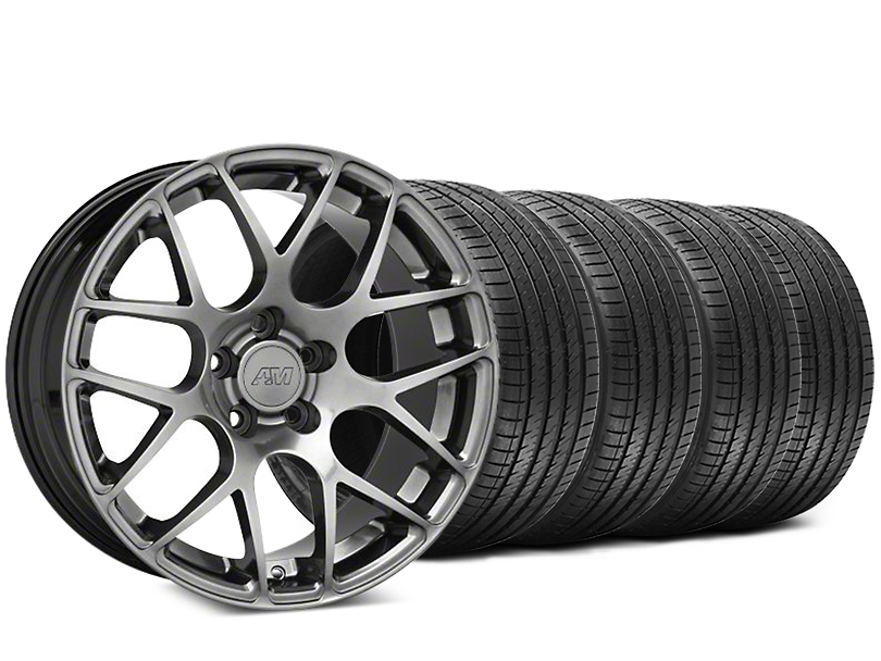 Staggered AMR Dark Stainless Wheel and Sumitomo Maximum Performance HTR Z5 Tire Kit; 18x8/9 (94-04 All)