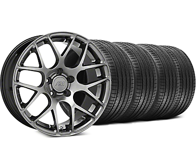 Staggered AMR Dark Stainless Wheel & Sumitomo Tire Kit - 18x8/9 (94-04 All)