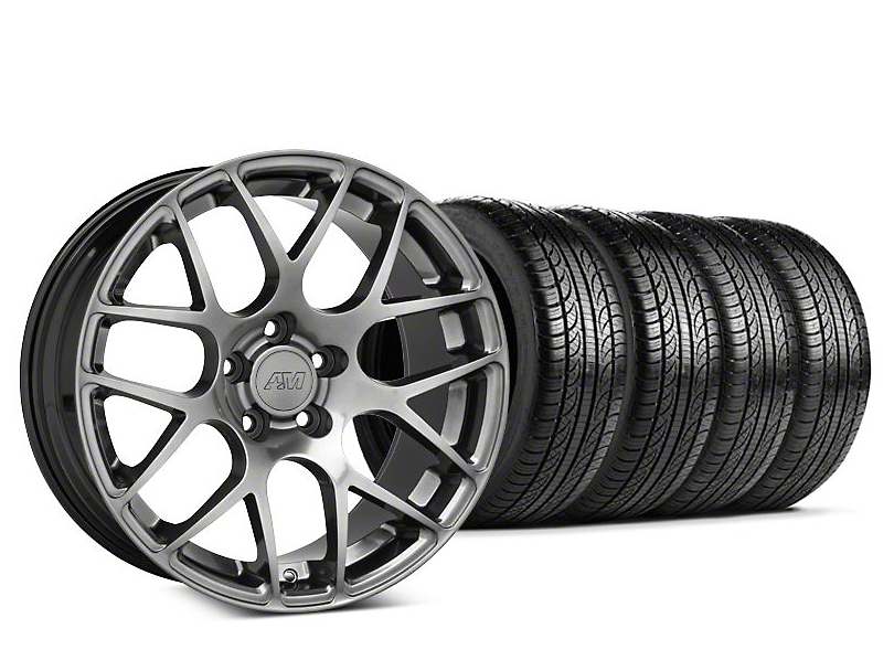 Staggered AMR Dark Stainless Wheel & Pirelli Tire Kit - 19x10/11 (15-18 GT, EcoBoost, V6)