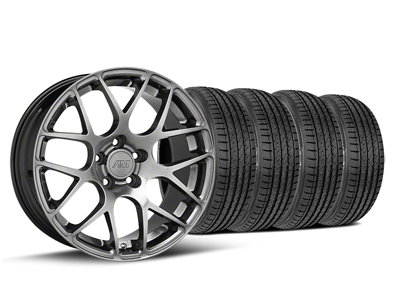 Staggered AMR Dark Stainless Wheel & Sumitomo Tire Kit - 19x10/11 (15-18 All)