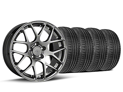 Staggered AMR Dark Stainless Wheel & Sumitomo Tire Kit - 19x10/11 (15-18 GT, EcoBoost, V6)
