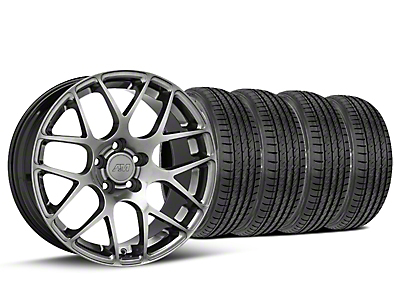 Staggered AMR Dark Stainless Wheel & Sumitomo Tire Kit - 19x8.5/10 (05-14 All)