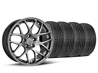 Staggered AMR Dark Stainless Wheel & Sumitomo Tire Kit - 19x8.5/10 (15-18 GT, EcoBoost, V6)