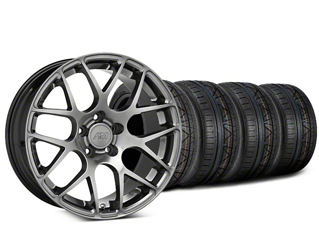 Staggered AMR Dark Stainless Wheel & NITTO INVO Tire Kit - 19x8.5/11 (15-19 GT, EcoBoost, V6)