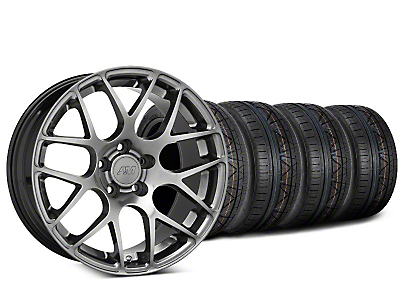 Staggered AMR Dark Stainless Wheel & NITTO INVO Tire Kit - 19x8.5/11 (15-18 GT, EcoBoost, V6)