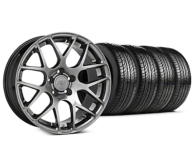 Staggered AMR Dark Stainless Wheel & Pirelli Tire Kit - 19x8.5/11 (15-18 GT, EcoBoost, V6)