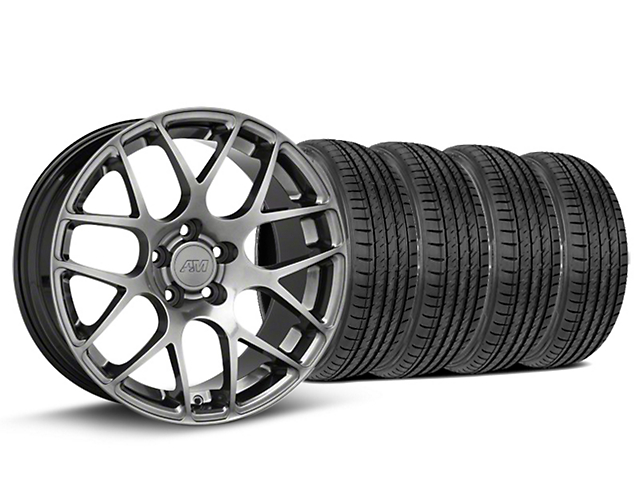 Staggered AMR Dark Stainless Wheel & Sumitomo Tire Kit - 19x8.5/11 (15-19 GT, EcoBoost, V6)