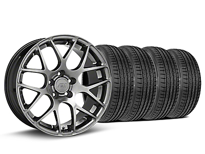 Staggered AMR Dark Stainless Wheel & Sumitomo Tire Kit - 19x8.5/11 (15-18 GT, EcoBoost, V6)
