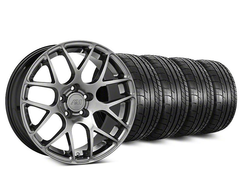 Staggered AMR Dark Stainless Wheel & Mickey Thompson Tire Kit - 20 in. - 2 Rear Options (15-19 GT, EcoBoost, V6)