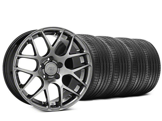 Staggered AMR Dark Stainless Wheel & Sumitomo Tire Kit - 20x8.5/10 (15-19 GT, EcoBoost, V6)
