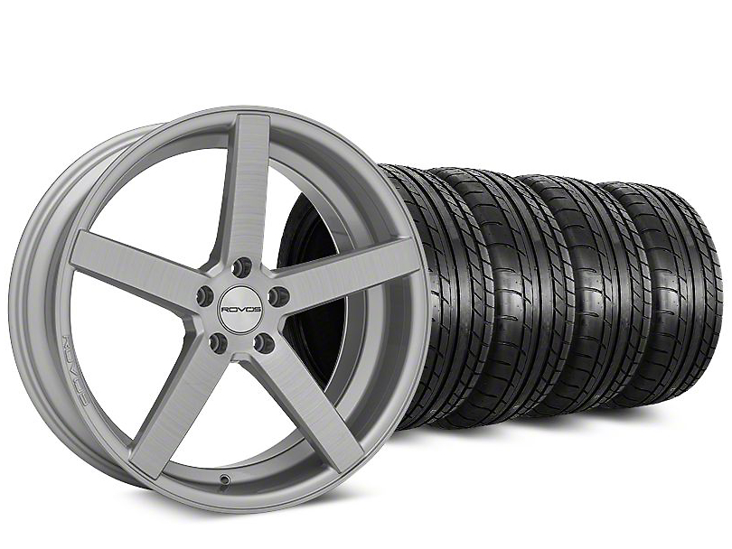Staggered Rovos Durban Brushed Wheel & Mickey Thompson Tire Kit - 20 in. - 2 Rear Options (15-17 All)