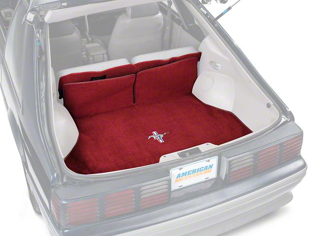 OPR Replacement Hatch Carpet w/ Tri-Bar Pony Logo - Red (87-93 Hatchback)