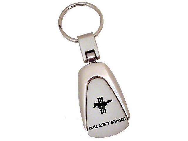 Teardrop Style Key Chain with Tri-Bar Pony Mustang Logo