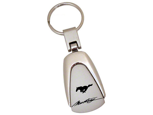 Teardrop Style Key Chain with Running Pony Mustang Logo