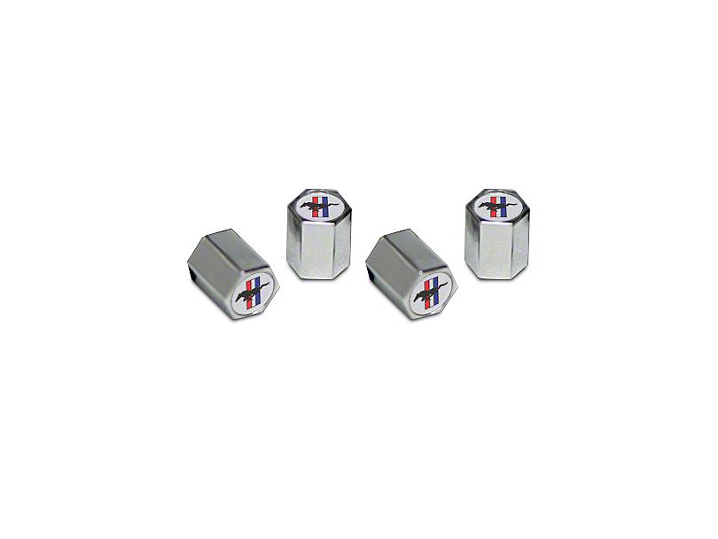 Valve Stem Caps with Tri-Bar Pony Logo (Universal Fitment)