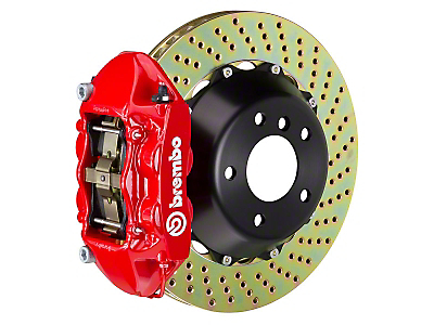 Brembo GT Series 4-Piston Rear Brake Kit Red - 15 in. Drilled Rotors (15-17 GT)