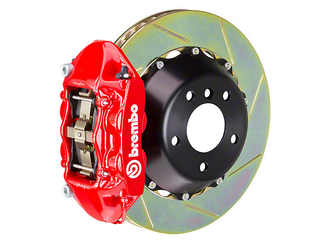 Brembo GT Series 4-Piston Rear Brake Kit - 15 in. Type 1 Slotted Rotors - Red (15-18 EcoBoost, V6)